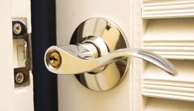 foto of front door  - door handle chrome door knob focus on keyhole - JPG