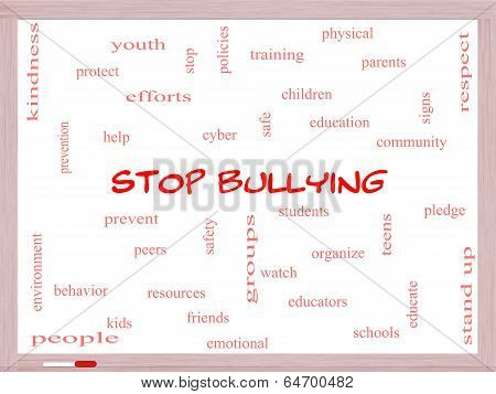 Stop Bullying Word Cloud Concept On A Whiteboard
