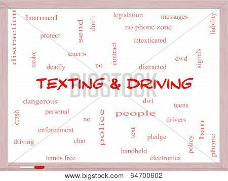 Texting And Driving Word Cloud Concept On A Whiteboard