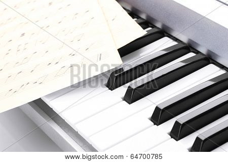 background of piano keyboard with notes