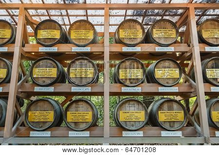 Wine Barrels at Meiji-jingu Shrine in Tokyo