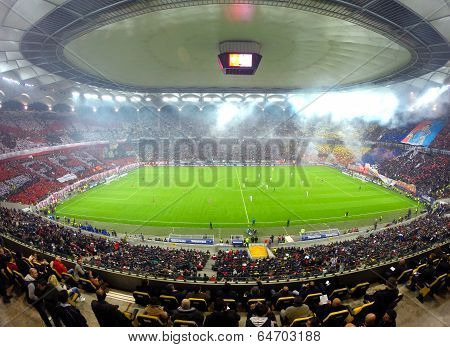 National Arena Stadium During A Match Between Dinamo And Steaua Bucharest