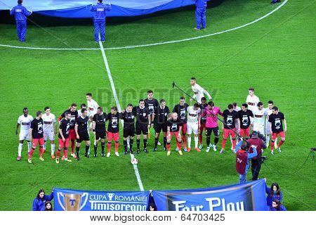 Ceremony Of The Beginning Of A Match Between Dinamo And Steaua Bucharest