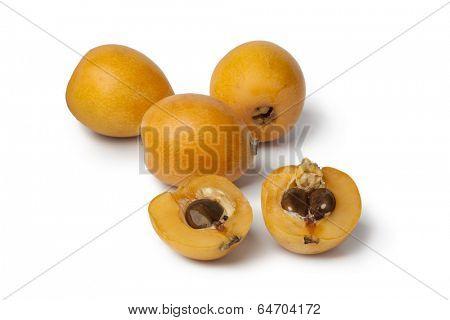 Fresh loquat fruit on white background