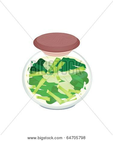 A Jar Of Pickled Chopped Chinese Broccoli