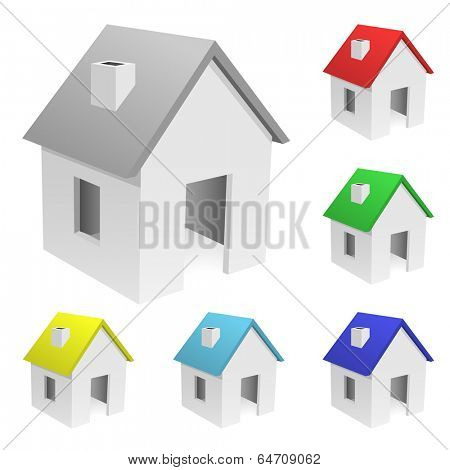 Set of tiny houses with varicolored roofs isolated on white background.