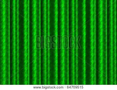 A Pleated, Green Silk Curtain Backdrop