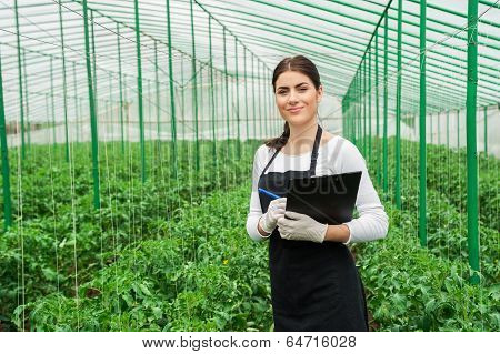 Greenhouse female inspector