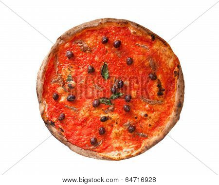 Pizza Marinara With Anchovies And Black Olives