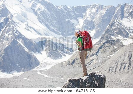 Hiker Near Belukha Mountain, The Highest In Siberia