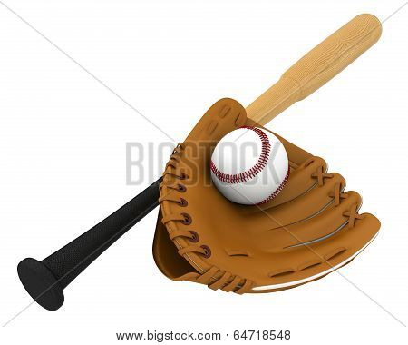 new baseball glove and wooden baseball bat