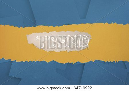 The word trend against digitally generated blue paper strewn