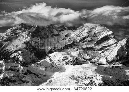 Winter landscape in the Sella Group, Dolomites, Italy, Europe
