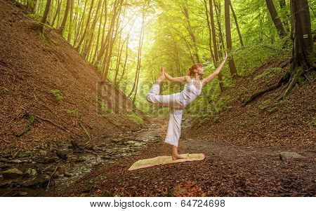 Relaxation joga pose in wonderful forest