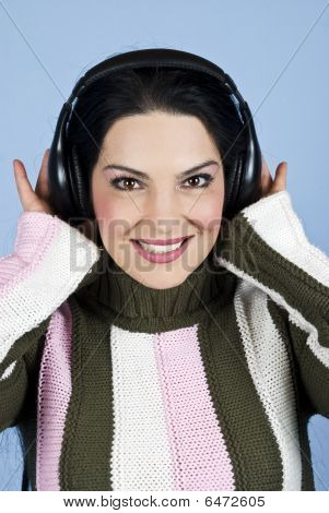 Happy Woman Listening Music