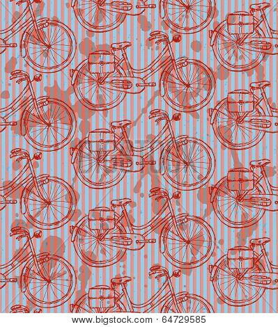 Sketch Bicycle, Vector Vintage Seamless Pattern
