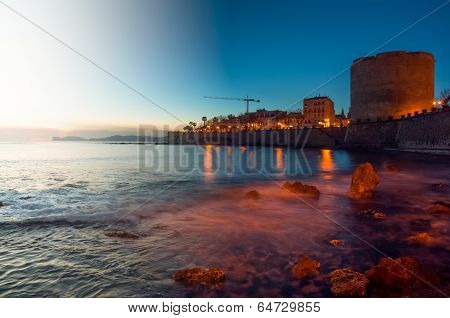 Landscape From Dusk To Night Of City Of Alghero, Sardinia.tif