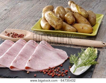 Ham And Endive Presented On A Slate