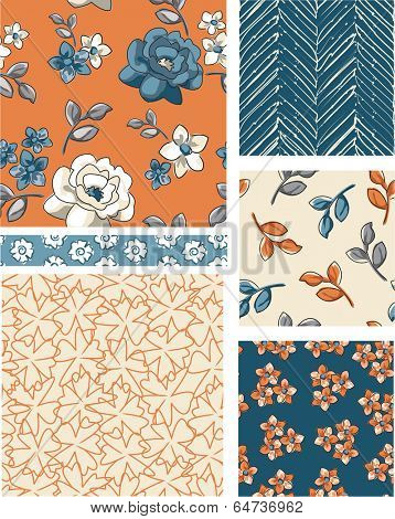 Seamless Floral Vector Patterns. Use as fills, digital paper, or print off onto fabric to create unique items.