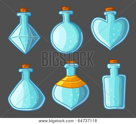 Collection of empty bottles magic. Vector illustration. Isolated on dark