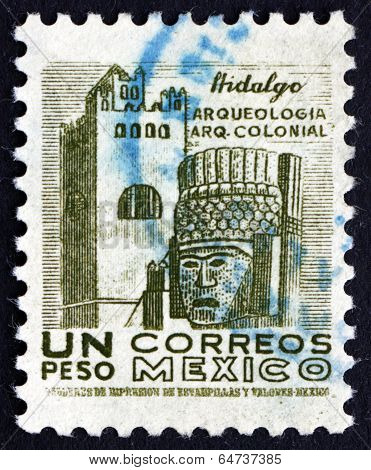 Postage Stamp Mexico 1950 Convent And Carved Head, Hidalgo