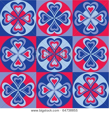 Folksy Hearts in Blue and Red