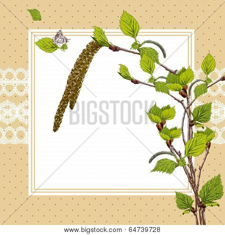 Vintage Card with Birch Twigs