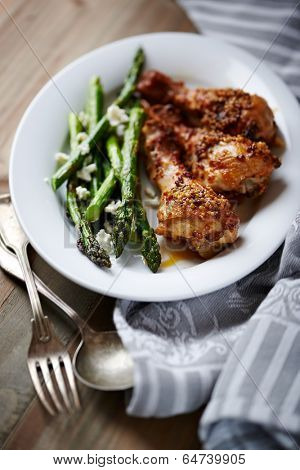 Honey and Mustard Glazed Chicken Legs with Green Asparagus