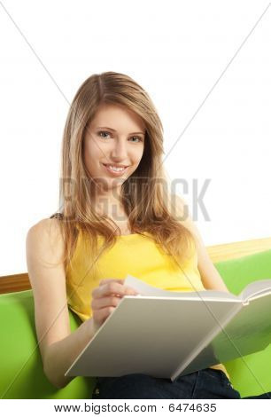 Happy Young Blond Woman With Book