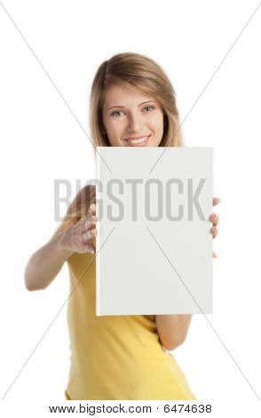 Happy Blond Girl Shows Book