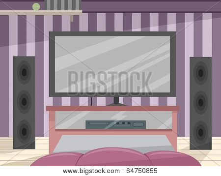 Illustration Featuring a High-tech Entertainment Room
