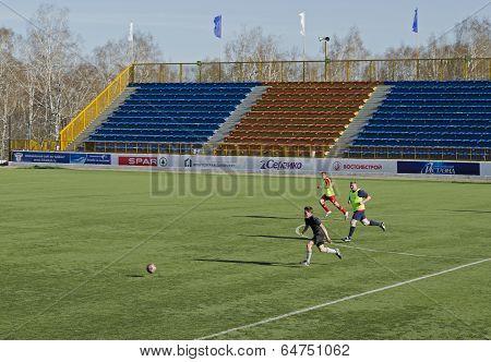 Irkutsk,Ru-Apr,26 2014:Match between former players and teenagers in Apr,26 2014