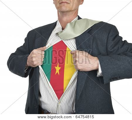 Businessman Showing Cameroon Flag Superhero Suit Underneath His Shirt