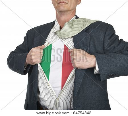 Businessman Showing Italy Flag Superhero Suit Underneath His Shirt