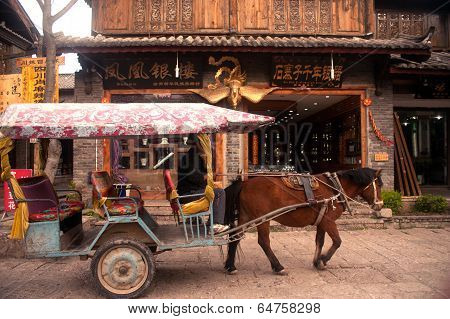 Carriage Service For Torists In Shuhe Ancient Town.