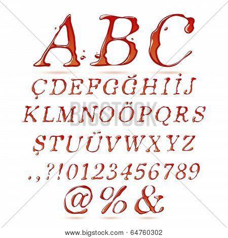 Ketchup alphabet upper case italic