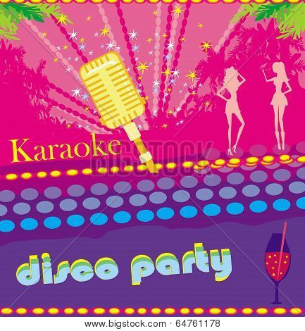 Karaoke Night, Abstract Illustration Of A Microphone And Dancers