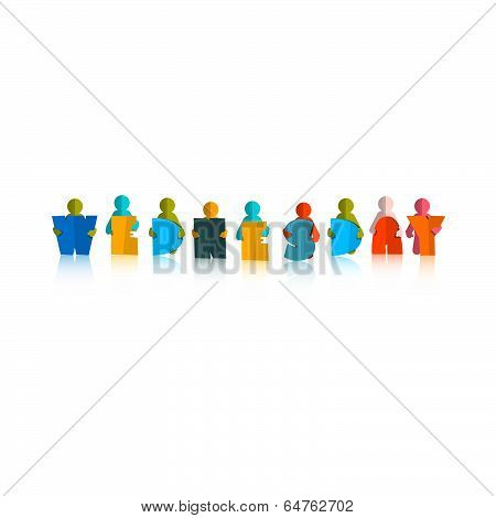 Wednesday Colorful Title - Paper Cut People and Letters on White Background