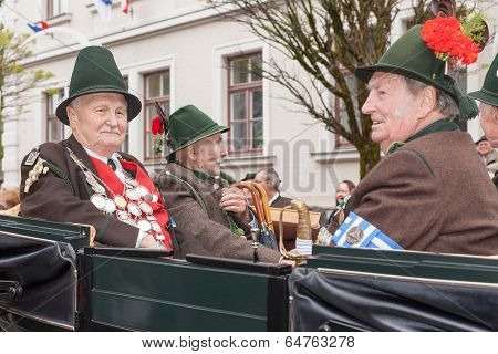 Miesbach / Germany / Bavaria - 05.May: Protect the king and dignitaries during Patronatstag in the c