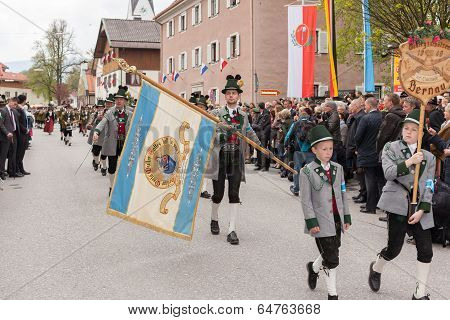 Miesbach / Germany / Bavaria - 05.May: Mountain protect the flag salute before the VIP box