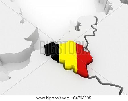 Map of Europe and Belgium. 3d