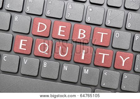 Debt equity on keyboard