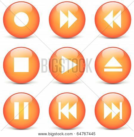 Vector Multimedia Orange Web Buttons