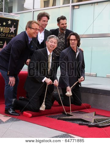 LOS ANGELES - MAY 9:  Doug Davidson, Richard Marx, Jason Thompson, Leron Gubler, Rick Springfield at the Rick Springfield WOF Ceremony at Hollywood Blvd on May 9, 2014 in Los Angeles, CA