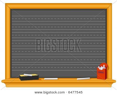Blackboard with writing lines, eraser and a box of chalk.