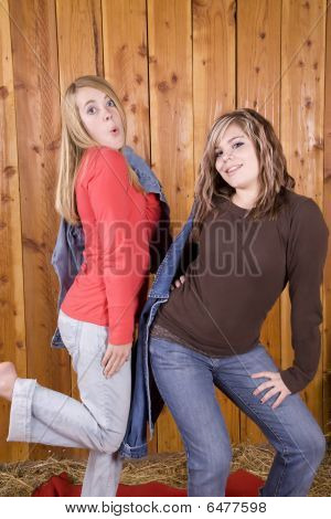Girls Posing In Barn