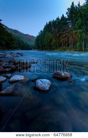 Photographing Flowing River Early In The Morning, Altai Krai