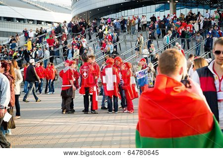Minsk, Belarus - May 9 - Belarussian, Swiss And Russian Fans In Front Of Minsk Arena On May 9, 2014
