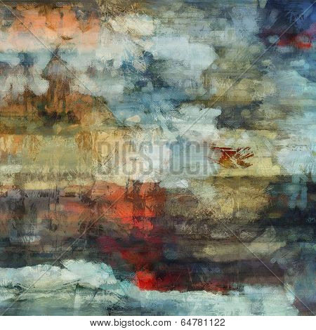 art abstract acrylic and pencil background in white, beige, brown, orange, blue and red colors