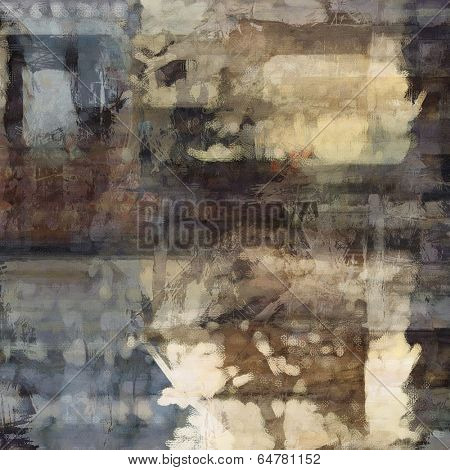 art abstract acrylic and pencil background in blue, beige, brown and black colors